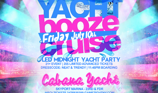 NYC LED Glowsticks Booze Cruise Yacht Party at Skyport Marina